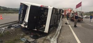 Samsun'da askerleri taşıyan otobüs devrildi