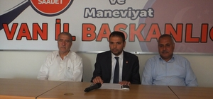 Saadet Partisi Van il başkanlığından Van Gölü açıklaması