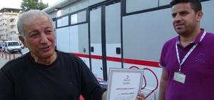 25 Ünite Kan Veren vatandaş Madalya ile ödüllendirildi