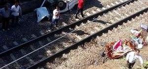 Kaza yapan otomobil köprüden tren yoluna düştü: 1 ölü
