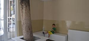 Okul kantinin içinden ağaç geçiyor