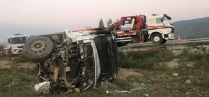 Tosya'da hafriyat kamyonu devrildi