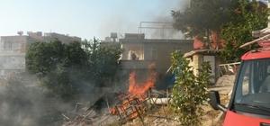 Anız yangını bahçeye sıçradı traktör kül olmaktan son anda kurtarıldı