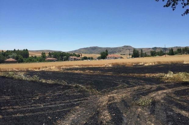 Sorgun'da ekili tarım arazisinde yangın çıktı