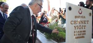 Bakan Özhaseki 15 Temmuz şehitlerinin mezarlarını ve ailelerini ziyaret etti