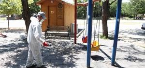 Parklarda dezenfekte çalışması