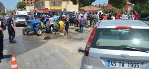 Saruhanlı kavşağında trafik kazası: 1 yaralı