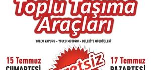 Kocaeli'de ulaşım 17 Temmuz'a kadar ücretsiz