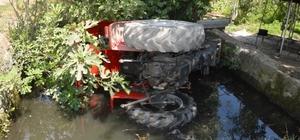 Traktör sulama havuzuna düştü: 1 yaralı