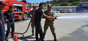 Bozüyük Belediyesi itfaiyesinden 6 askere yangın eğitimi