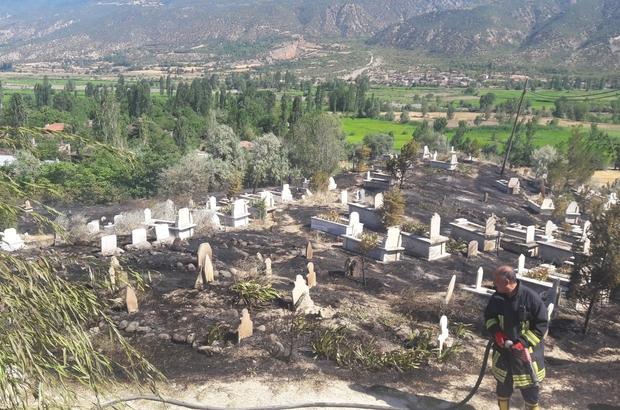 Tosya'da çıkan yangın mezarlara zarar verdi