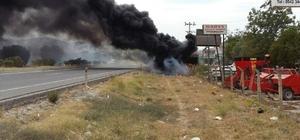 Milas'ta otluk alanda başlayan yangın teknelere sıçradı