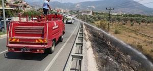 Milas'ta yangın elektrik tellerine zarar verdi