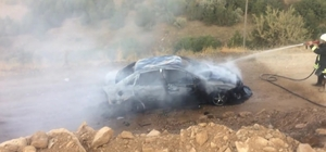 Otomobil yanarak kullanılamaz hale geldi
