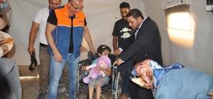 Engelli  mültecilere tekerlekli sandalye dağıtıldı