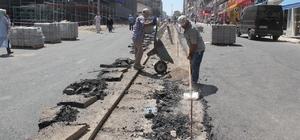 Milli İrade Caddesinde refüj yapımı devam ediyor