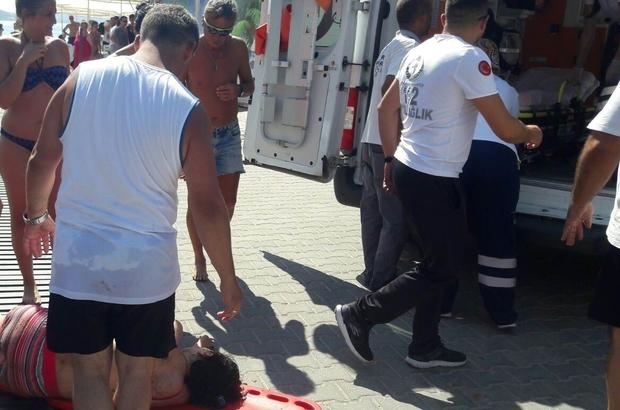 Denizde fenalaşan kadın hastaneye kaldırıldı