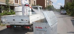 Bafra'da çöp konteynerleri dezenfekte ediliyor