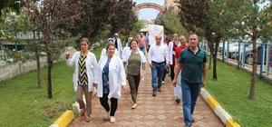 Kalp krizine dikkat çekmek için yürüdüler