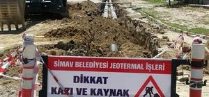 Simav'da Jeotermal ana hat yenileme çalışması