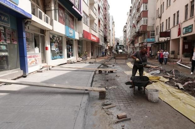 Fatsa'da baskı beton kaldırım ve yol çalışmaları
