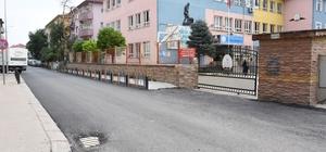üzce'de  okul yolları asfaltlanıyor