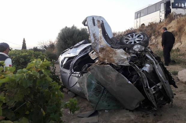 Denizli'de devrilen otomobilin sürücüsü öldü