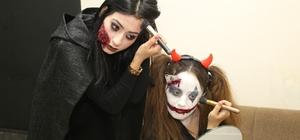 Kursiyerler makyajla 'Kadına şiddete hayır' dedi