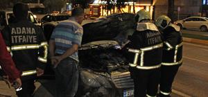 Adana'da servisten çıkan otomobil yandı