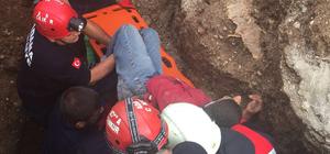 Göçük altında kalan işçiyi itfaiye ekipleri kurtardı