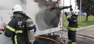 Tekirdağ'da servis otobüsü yandı