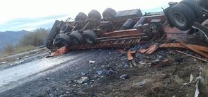 Lahana yüklü kamyon devrildi: 1 yaralı
