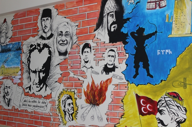 Duvarları süsleyen öğretmenden yeni çalışma