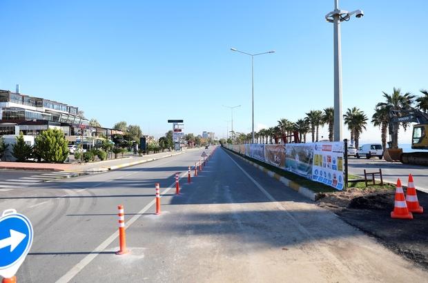Konyaaltı sahil yolunun güney şeridi trafiğe kapatıldı