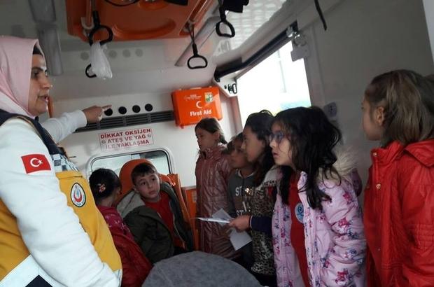 'Minik 112' projesi kapsamında minik öğrencilere eğitim verildi
