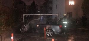 Başkentte park halindeki lüks otomobil yandı