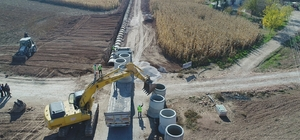 Suruç'ta yağmur suyu drenaj çalışmaları devam ediyor