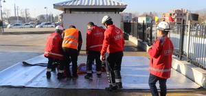 Düzce'de yangından hasta kurtarma tatbikatı
