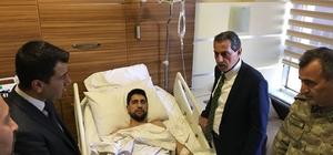 Vali Kalkancı gaziyi hastanede yalnız bırakmadı