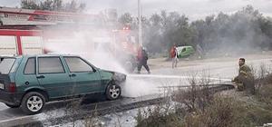Seyir halindeki araç elektrik kontağından yandı