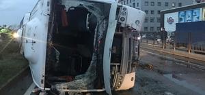 Rize'de midibüs devrildi: 6 yaralı