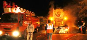 Çimento kamyonundaki yangını polisler fark etti