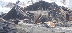 Evi yanan vatandaş kedileri dışarıda kaldığı için gözyaşı döktü