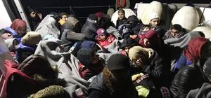 Sahil güvenlik uçağının tespit ettiği çoğunluğu çocuk 56 göçmen kurtarıldı