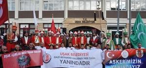 Uşak'tan sınıra gönderilen destekler mehterle uğurlandı