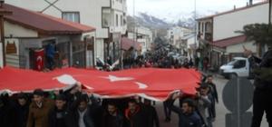 Narman'da 'Zeytin Dalı Harekatına' destek yürüyüşü