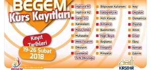 Kırşehir Belediyesi BEGEM kurs kayıtları başladı