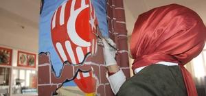 Okul duvarlarını sanat eserine çevirdiler