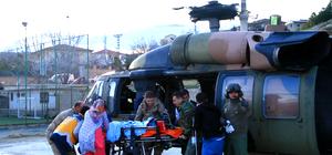 Askeri helikopter, silahla yaralanan çocuk için havalandı