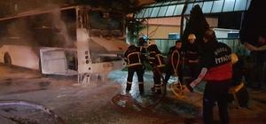 Seferini tamamlayan belediye otobüsü yandı